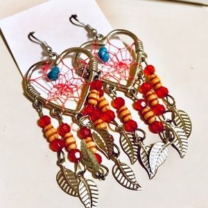 Heart Dreamcatcher Beaded Earrings, Red, NWT